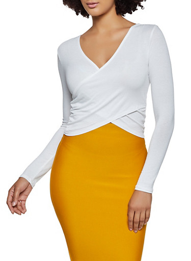 Faux Wrap Long Sleeve Crop Top,WHITE,large