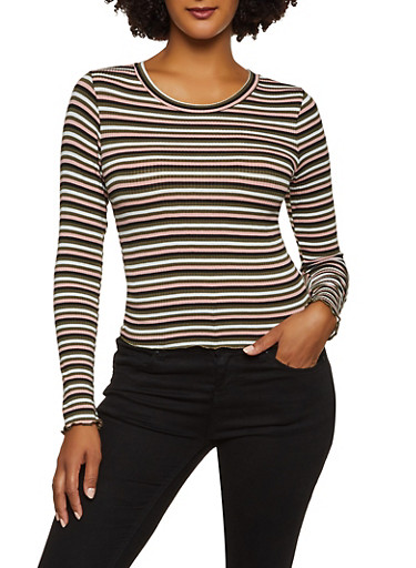 Lettuce Edge Striped Rib Knit Top,OLIVE,large