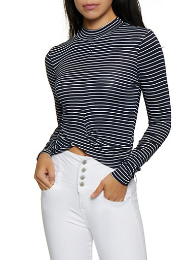 Striped Twist Front Long Sleeve Top,NAVY,large
