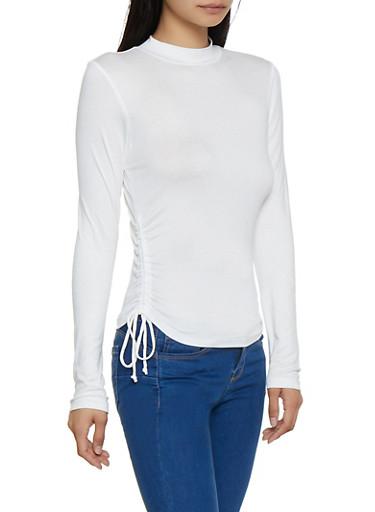 Drawstring Side Mock Neck Top,WHITE,large