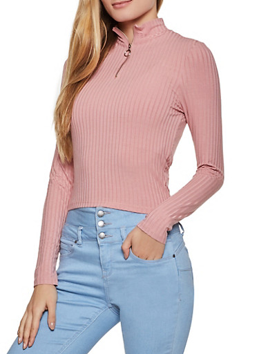 Zip Neck Ribbed Knit Top,MAUVE,large