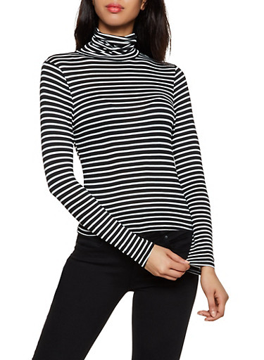 Long Sleeve Striped Turtleneck Top,BLACK,large