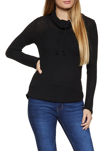 Waffle Knit Drawstring Cowl Neck Top,BLACK,large