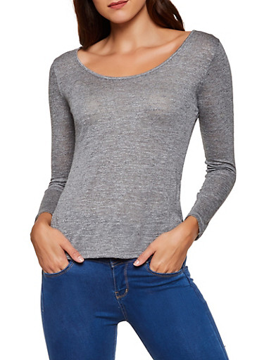 Marled Scoop Neck Top,CHARCOAL,large