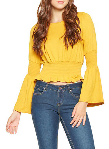 Smocked Waist Bell Sleeve Top,MUSTARD,large