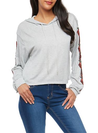 Floral Applique Hooded Sweatshirt,HEATHER,large