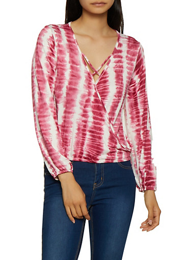 Tie Dye Caged Faux Wrap Top,BURGUNDY,large
