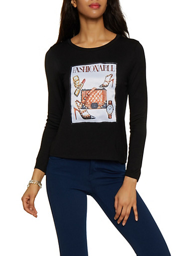 Fashionable Graphic Patch Tee,BLACK,large