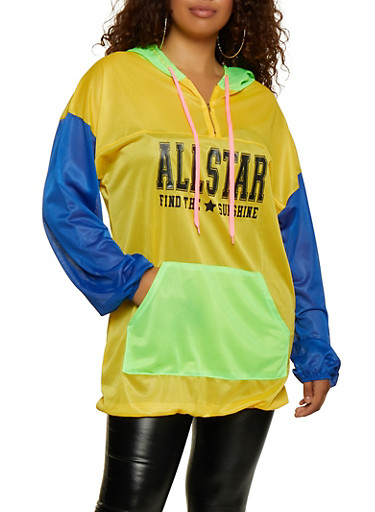 Jersey Mesh All Star Graphic Oversized Sweatshirt,MULTI COLOR,large