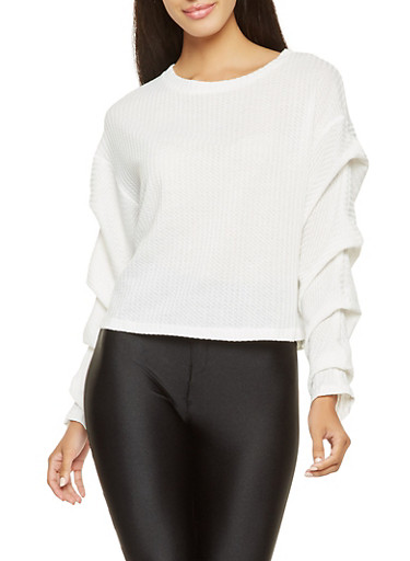 Ruched Sleeve Knit Top,WHITE,large