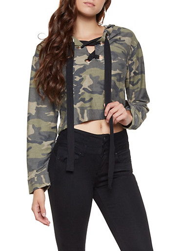 Lace Up Hooded Camo Top,OLIVE,large