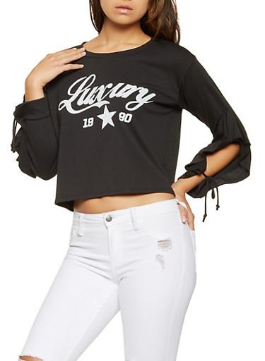 Luxury Graphic Tie Sleeve Sweatshirt,BLACK,large