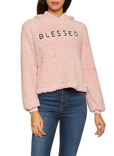 Blessed Graphic Sherpa Sweatshirt,MAUVE,large