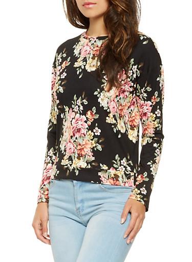 Floral Long Sleeve Top,BLACK,large