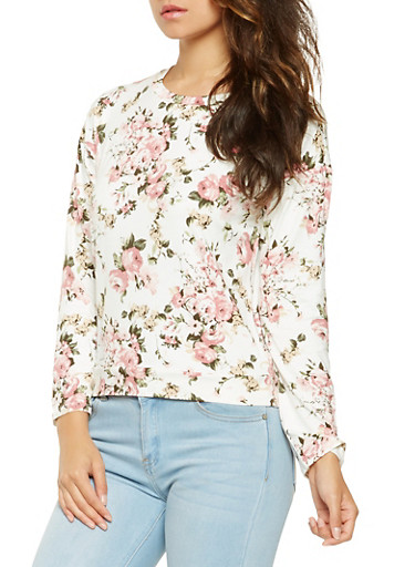 Soft Knit Floral Long Sleeve Top,IVORY,large