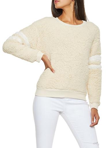 Varsity Stripe Sherpa Sweatshirt,IVORY,large