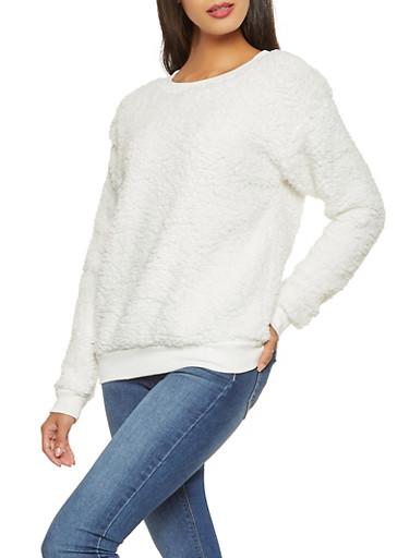 Sherpa Sweatshirt,IVORY,large