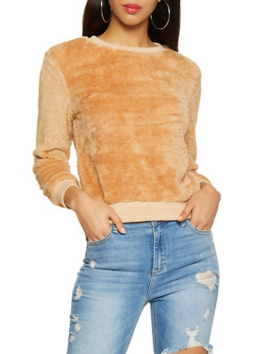 Faux Fur Crew Neck Sweatshirt,CAMEL,large