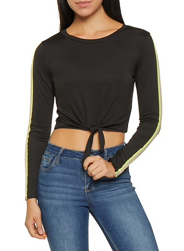 Side Tape Tie Front Tee,BLACK,large