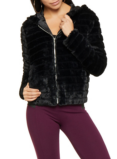 Hooded Faux Fur Jacket,BLACK,large