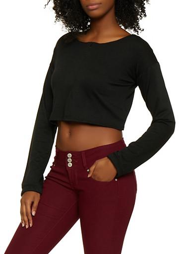 Zip Front Crop Top,BLACK,large