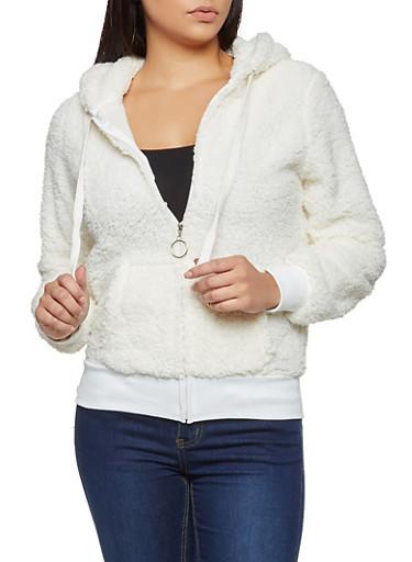 Zip Front Sherpa Sweatshirt,IVORY,large