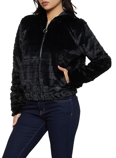 Faux Fur Hooded Zip Up Sweatshirt,BLACK,large