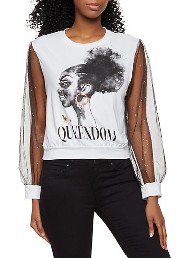 Mesh Sleeve Queendom Graphic Top,WHITE,large
