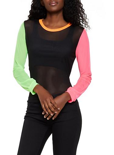 Color Block Mesh Top,MULTI COLOR,large