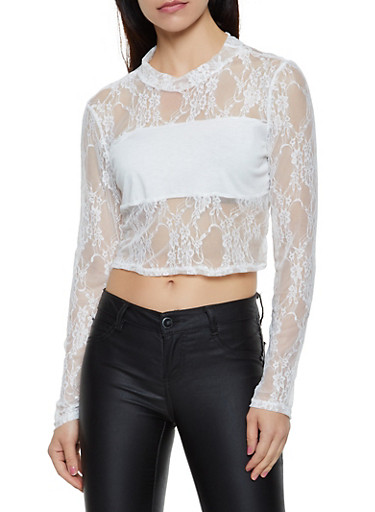 Lace Mock Neck Crop Top,WHITE,large