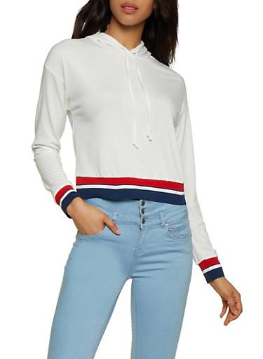 Striped Trim French Terry Sweatshirt,WHITE,large