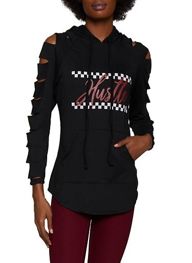 Hustle Laser Cut Sleeve Sweatshirt,BLACK,large