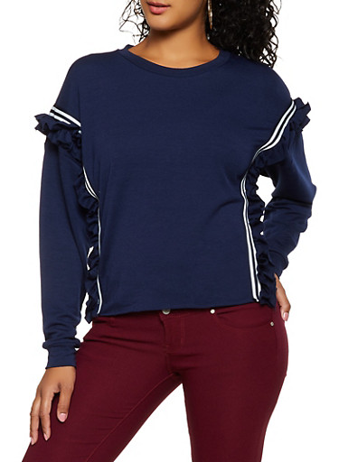 Ruffled Tape Trim Sweatshirt,NAVY,large