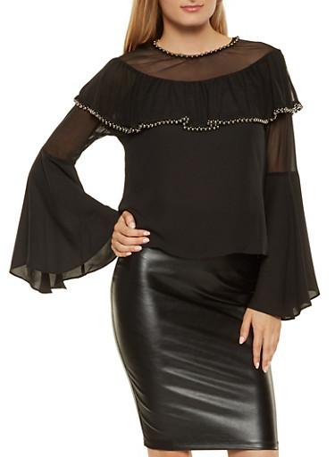 Faux Pearl Trim Bell Sleeve Top,BLACK,large