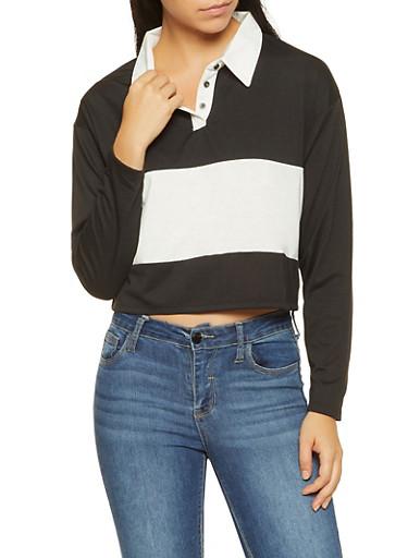 Color Block Polo Shirt,BLACK,large