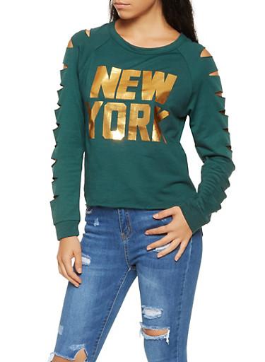 Laser Cut Foil Graphic Sweatshirt,HUNTER,large