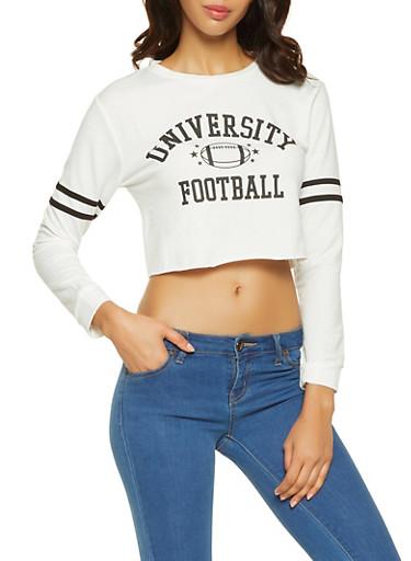 Graphic Cropped Sweatshirt,WHITE,large