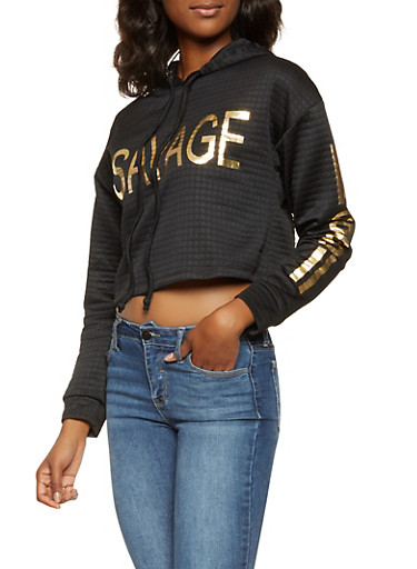 Graphic Quilted Hooded Sweatshirt,BLACK,large