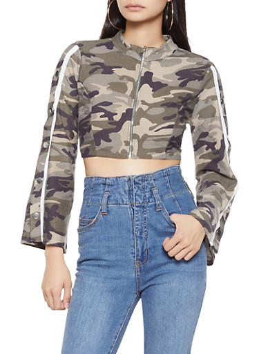 Flyaway Sleeve Camo Crop Top,OLIVE,large