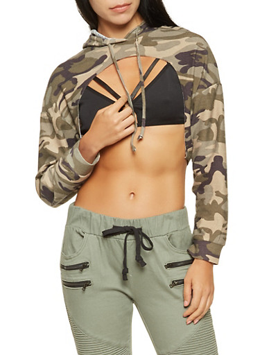 Cropped Camo Open Front Hoodie,OLIVE,large