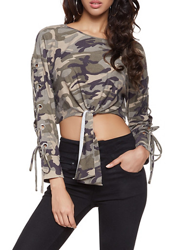Camo Lace Up Crop Top,CAMEL,large