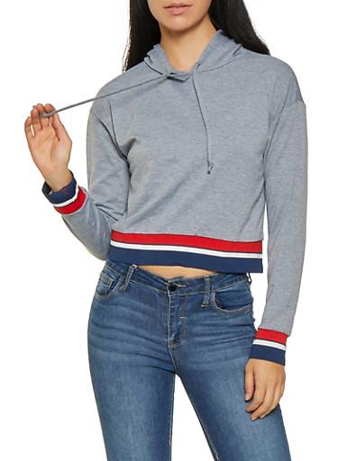 Striped Rib Knit Trim Sweatshirt,HEATHER,large