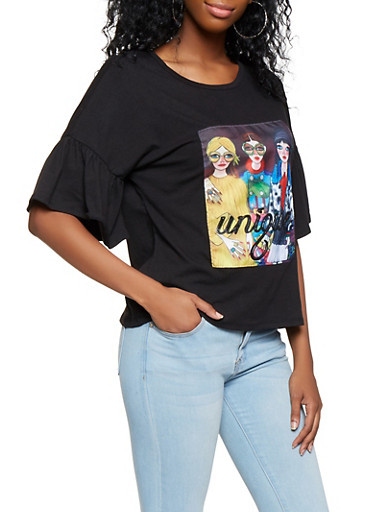 Bell Sleeve Graphic Tee,BLACK,large