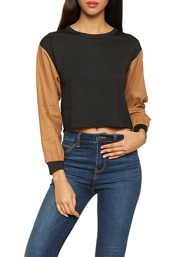 Linen Sleeve Cropped Sweatshirt,CAMEL,large