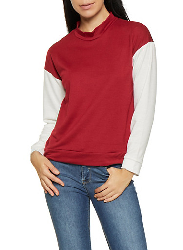 Color Block Mock Neck Top,WINE,large