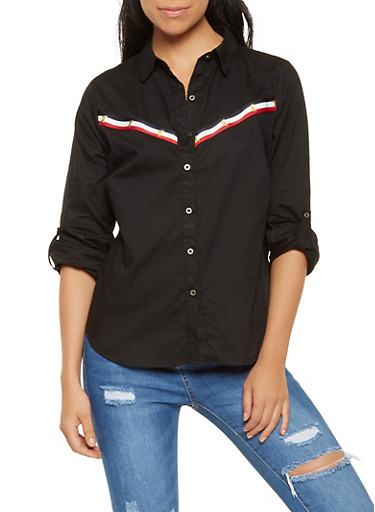 Striped Trim Button Front Shirt,BLACK,large