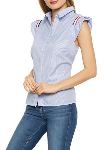 Striped Cap Sleeve Shirt,BLUE,large