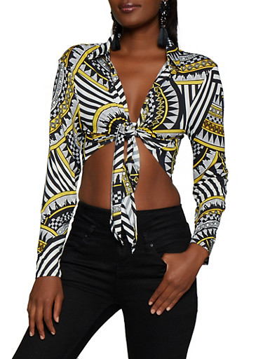 Tie Front Printed Crop Top,MULTI COLOR,large