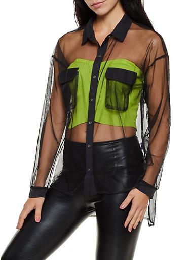Mesh Long Sleeve Shirt,BLACK,large