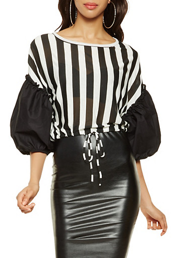 Striped Bubble Sleeve Top,BLACK,large